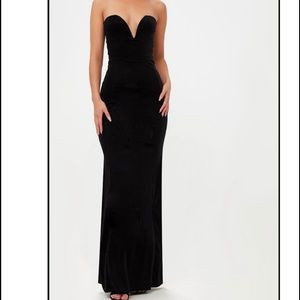 Black Strapless Plunge Maxi Dress Size 2